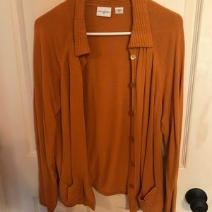 Burnt orange cardigan—perfect for the office!